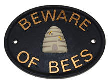 Plaque - Beware of Bees Large