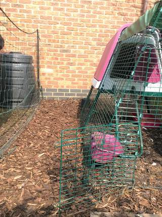 A great way to define areas, keep chickens secure, keep them off plants and it retains bark chipping rather well