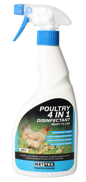 9089a8d16655 Poultry 4 in 1 Disinfectant - 500ml   Cleaning Products for Chicken Houses    Chicken Coops, Walk in Chicken Runs, Chicken Fencing and more   Omlet