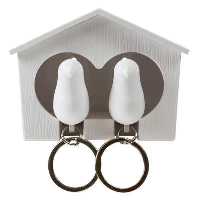 Duo Sparrow House and Keyring Set White