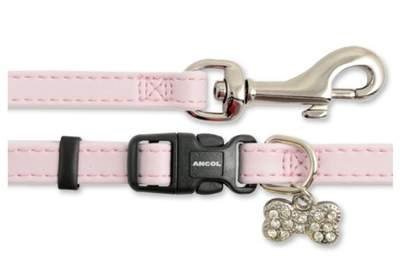 Small Bite Collar & Lead Set Deluxe Jewel Pink