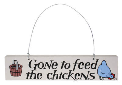 Gone to Feed the Chickens Door Hanger - Blue