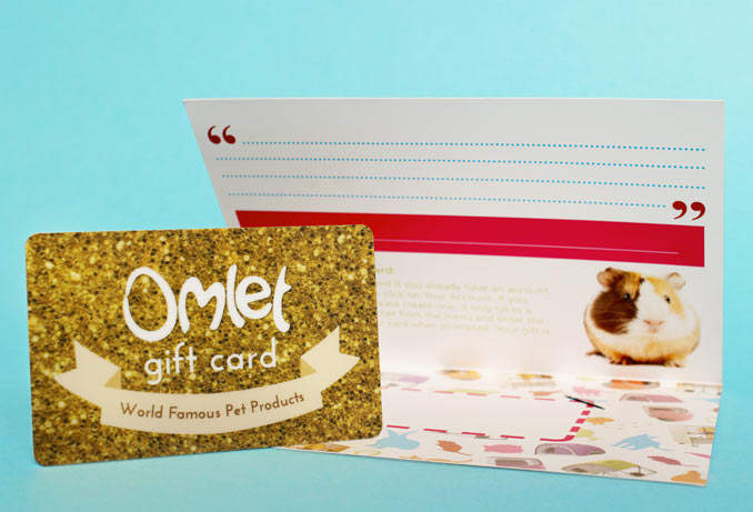 All Omlet Gift Cards come complete with stylish card holder