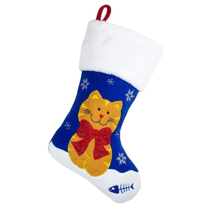 Cat Christmas Stockings.Deluxe Plush Christmas Stocking Cat Design