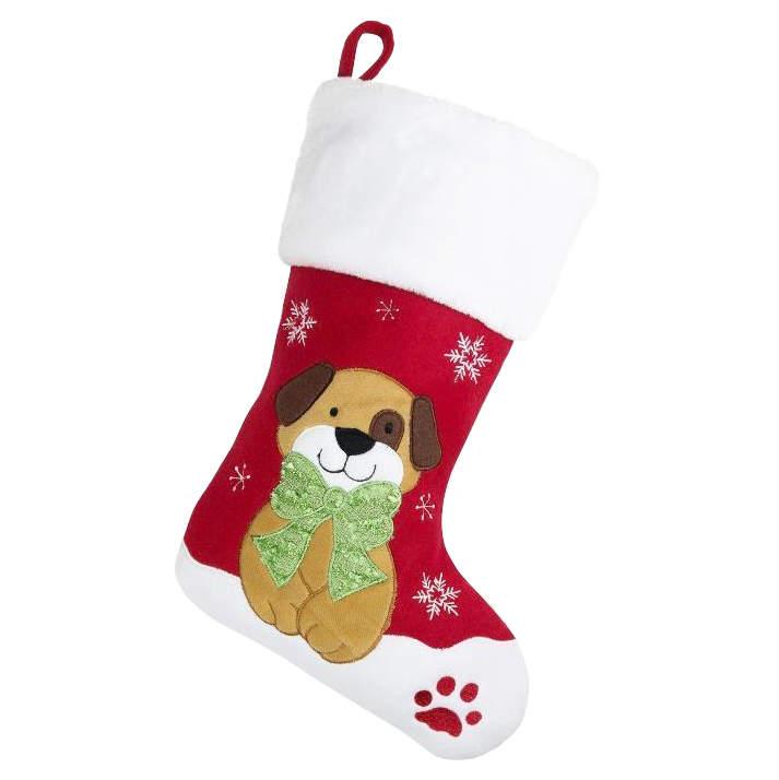 Christmas Stockings For Dogs.Deluxe Plush Christmas Stocking Dog Design