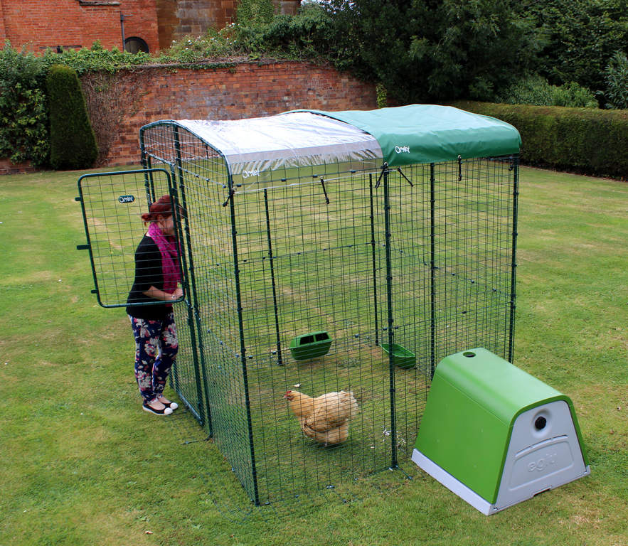 Overlapping multiple covers will keep chickens dry during heavy rain