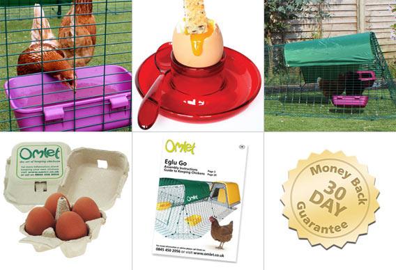 Mat- och vattenbehållare, väderskydd, Omlet äggkartonger, Omlets hönshandbok, 30 dagars öppet köp.