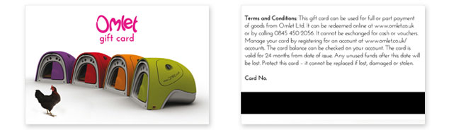 Front and back of Omlet Gift Card.