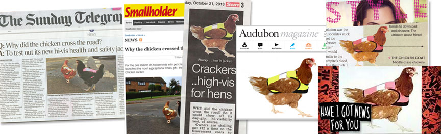 The High-Vis Chicken Jacket press clippings.