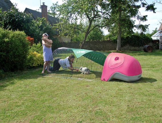 The Eglu rabbit house with run in garden with children playing.