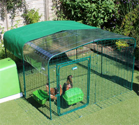 Omlet walk in chicken run with clear and heavy duty roof covers.
