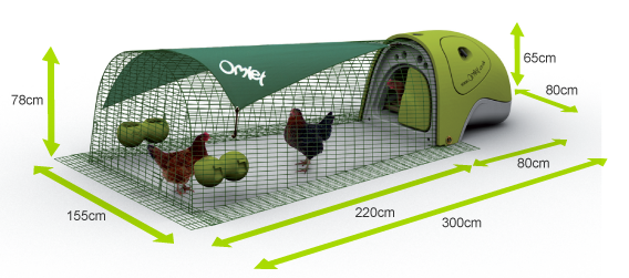 Dimensions of the Eglu Classic Chicken House and Run