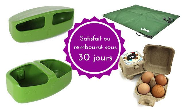 Une mangeoire en plastique, un abreuvoir en plastique, un auvent, des boîte d'oeufs et une garantie satisfait ou remboursé de 30 jours.